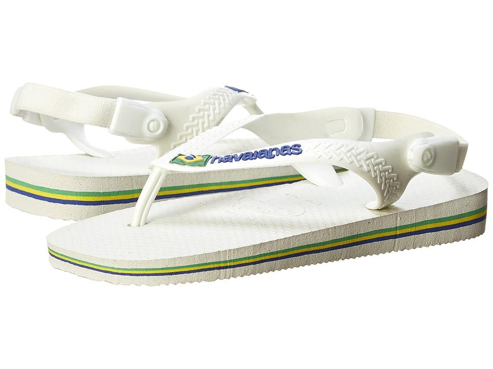 Havaianas Kids - Baby Brasil Logo Flip Flops (Toddler) (White/White) Boy's Shoes