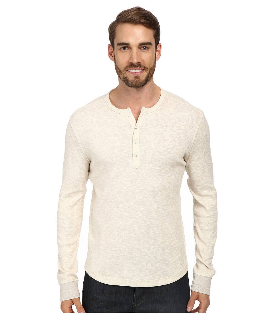 Lucky Brand - Twisted Slub Henley (Heather Oatmeal) Men's Long Sleeve Pullover
