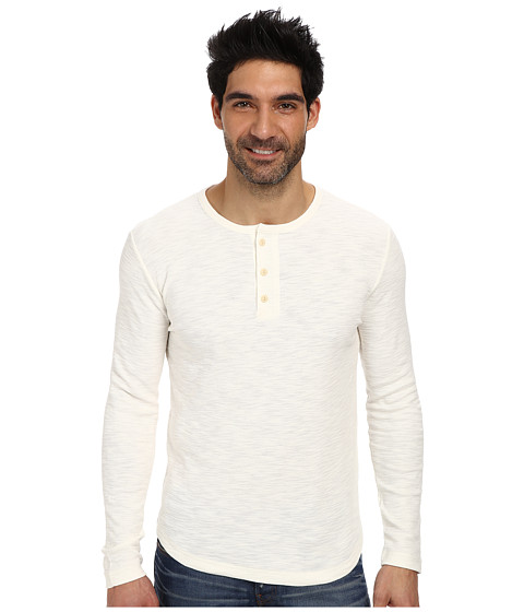 Lucky Brand - Long Sleeve Henley (Marshmallow) Men