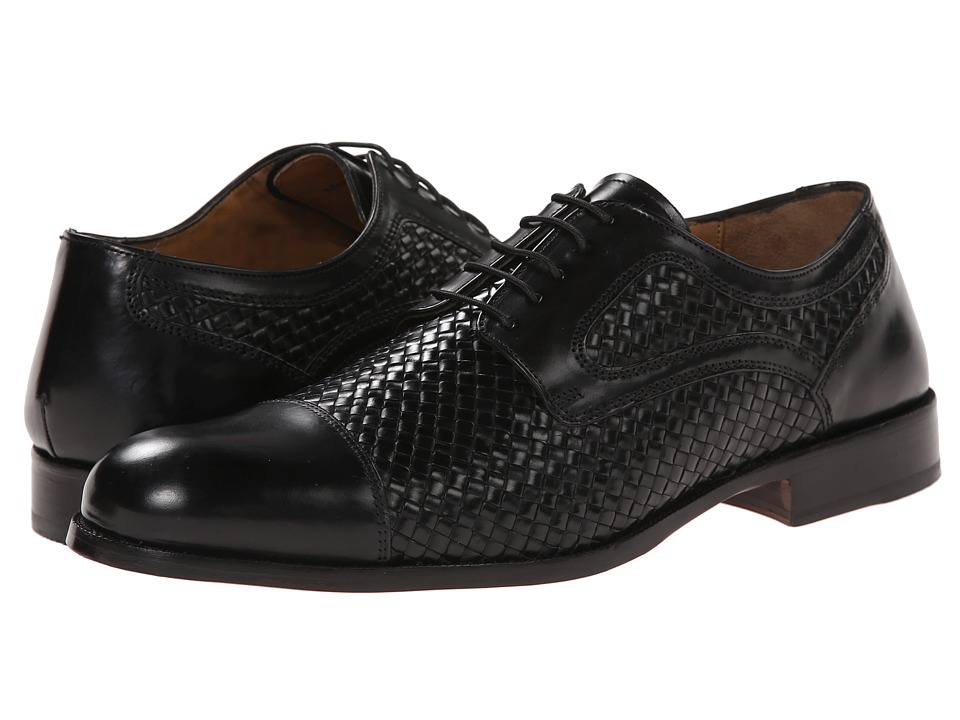 Johnston & Murphy - Stratton Woven Cap Toe (Black Italian Calfskin) Men's Lace Up Cap Toe Shoes