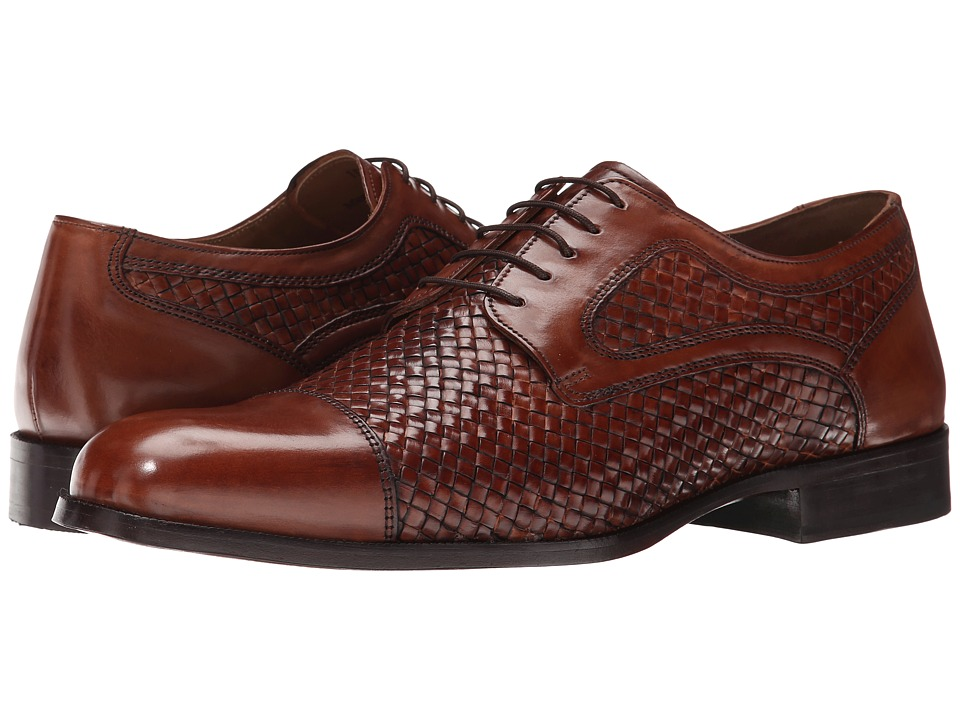 Johnston & Murphy - Stratton Woven Cap Toe (Mahogany Italian Calfskin) Men's Lace Up Cap Toe Shoes