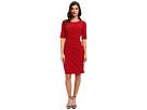 Adrianna Papell Diagonal Netting Detail Dress (Scarlet)
