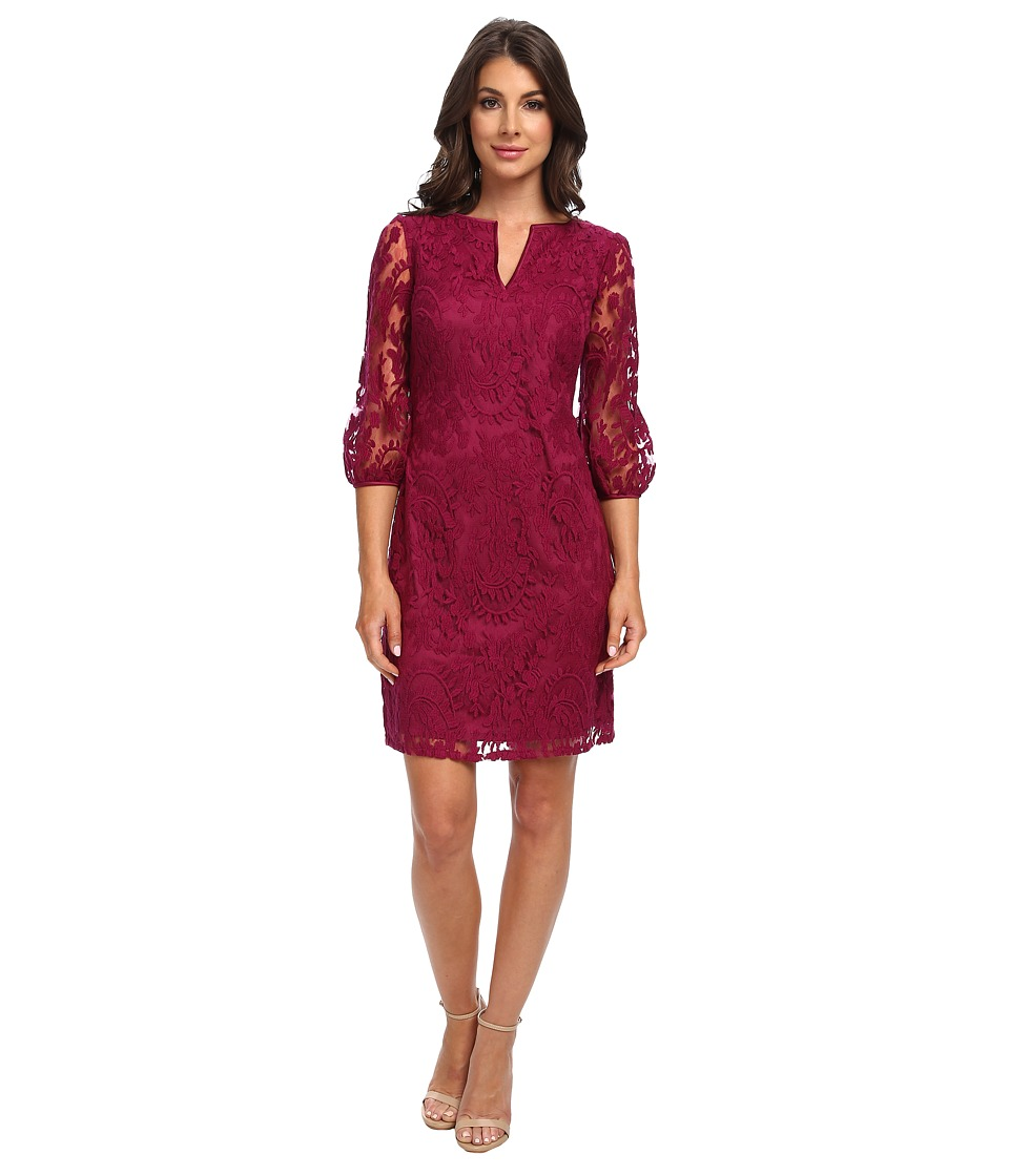 Adrianna Papell - Gathered Sleeve Lace Dress (Crushed Berry) Women's Dress