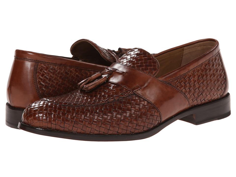 Johnston & Murphy - Stratton Woven Tassel (Mahogany Italian Calfskin) Men's Slip-on Dress Shoes