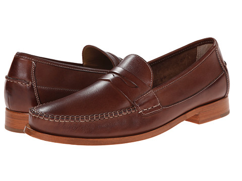 Johnston & Murphy - Danbury Penny (Brown Full Grain) Men's Slip-on Dress Shoes