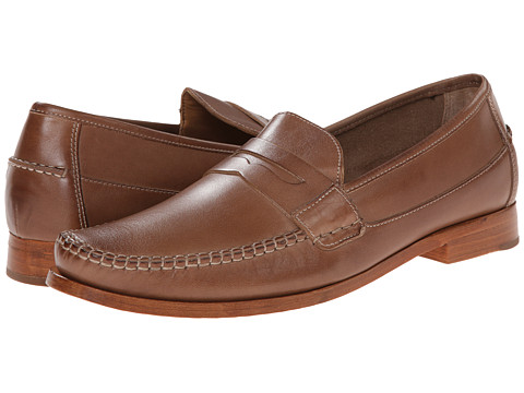Johnston & Murphy - Danbury Penny (Taupe Full Grain) Men's Slip-on Dress Shoes