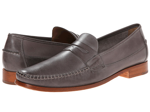Johnston & Murphy - Danbury Penny (Dark Grey Full Grain) Men's Slip-on Dress Shoes
