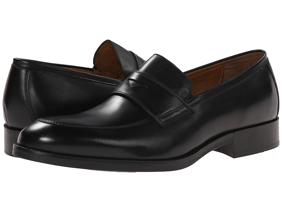 Johnston & Murphy - Beckwith Penny (Black Calfskin) Men's Slip-on Dress Shoes