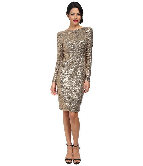 Badgley Mischka - Sequin Cowl Back Cocktail Dress (Gold) Women
