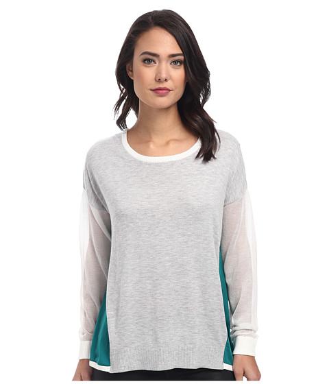 DKNYC - Sheer Sleeves w/ Light Weight Satin Sides Pullover (Fresh Green) Women