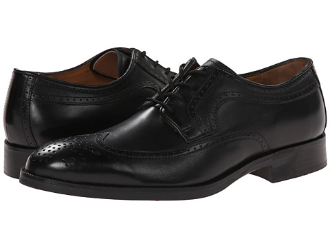 Johnston & Murphy - Beckwith Wingtip (Black Calfskin) Men's Lace Up Wing Tip Shoes