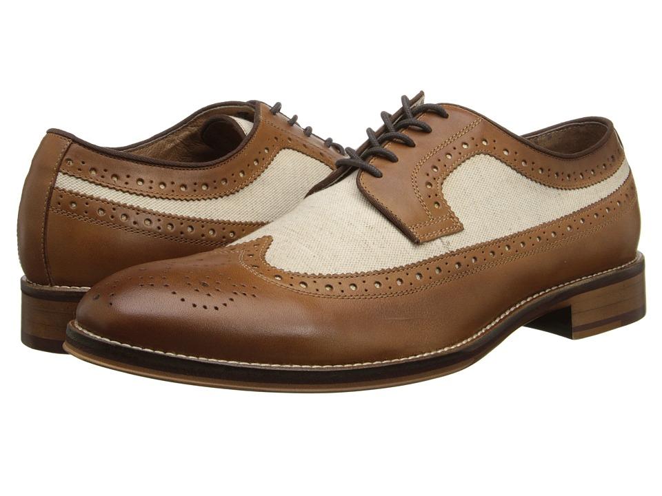 Johnston & Murphy - Conard Wingtip (Tan Calfskin/Beige Linen) Men's Lace Up Wing Tip Shoes