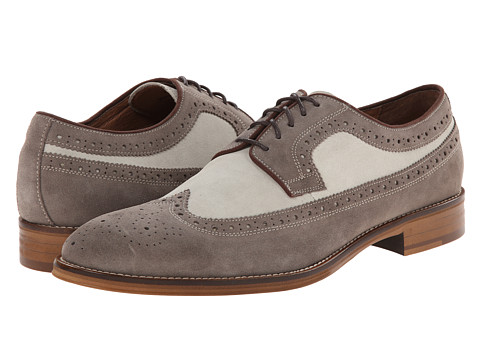 Johnston & Murphy - Conard Wingtip (Grey/Off White Suede) Men's Lace Up Wing Tip Shoes