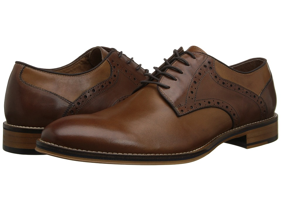 Johnston & Murphy - Conard Saddle (Tan/Dark Brown Calfskin) Men's Plain Toe Shoes
