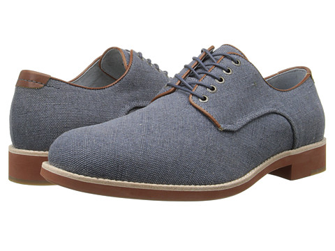 Johnston & Murphy - Ellington Plain Toe (Denim Linen) Men's Lace up casual Shoes