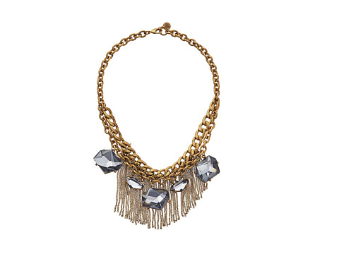 Sam Edelman - Rodeo Show Two Row Stone Fringe Necklace (Gold) Necklace