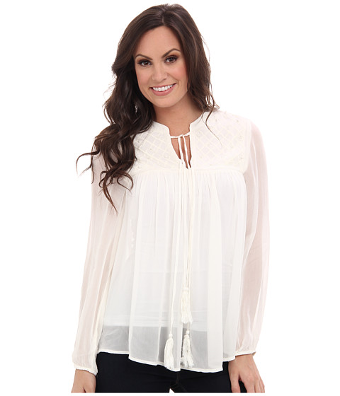 Lucky Brand - Ivory Tassle Top (Ivory) Women's Long Sleeve Pullover
