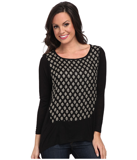 Lucky Brand - Ditzy Woodblock Top (Black Multi) Women