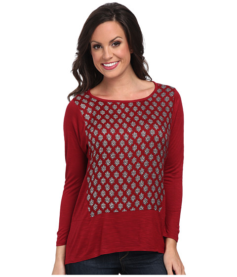 Lucky Brand - Ditzy Woodblock Top (Red Multi) Women