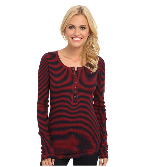 Lucky Brand - Carina Stripe Thermal (Red/Navy Stripe) Women