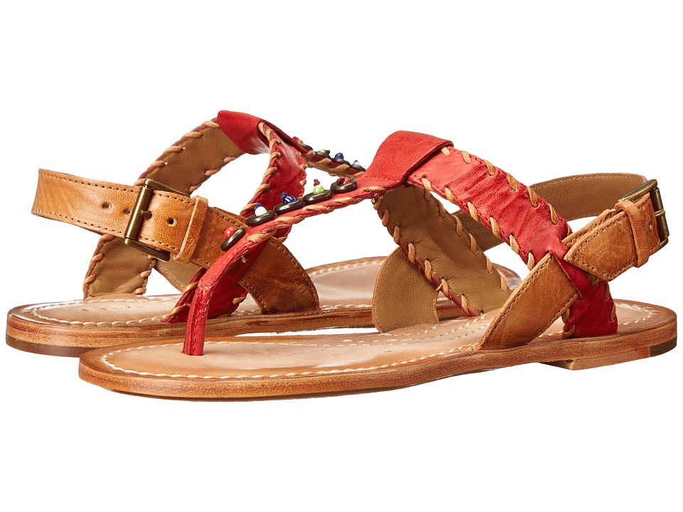 Trask - Briana (Coral/Tan Italian Washed Sheepskin) Women's Dress Sandals