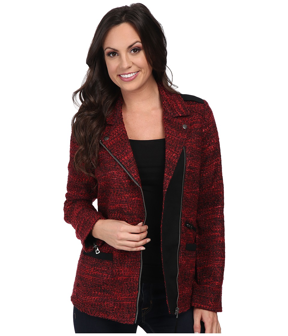 Lucky Brand - Slouchy Long Moto (Red Multi) Women's Coat