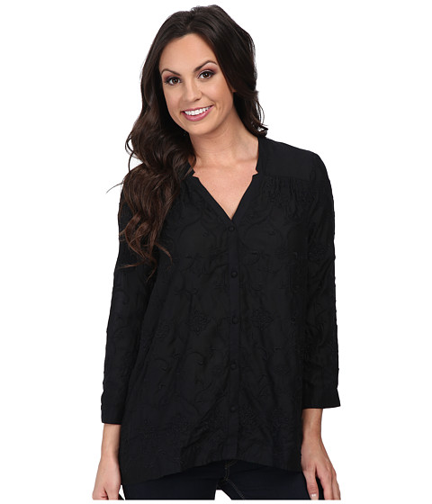 Lucky Brand - Darcey Embroidered Top (Lucky Black) Women's Long Sleeve Button Up