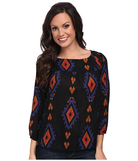 Lucky Brand - Amelia Printed Peasant Top (Black Multi) Women's Blouse