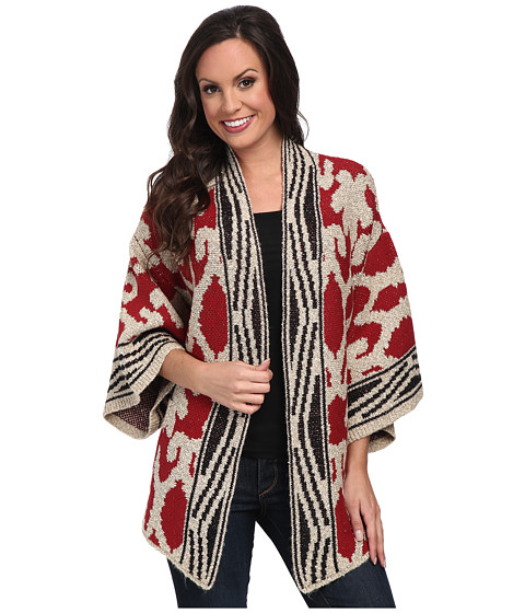Lucky Brand - Textured Poncho (Red Multi) Women's Coat