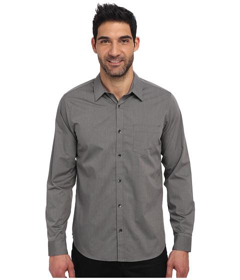 Calvin Klein - Fine Line Dobby Long Sleeve Woven Shirt (Carbon) Men