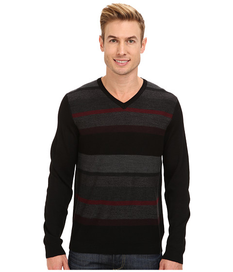 Calvin Klein - Merino Plaited Striped V-Neck Sweater (Black Combo) Men's Sweatshirt
