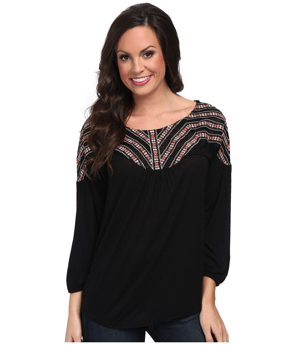 Lucky Brand - Peasant Embroidered Top (Lucky Black) Women