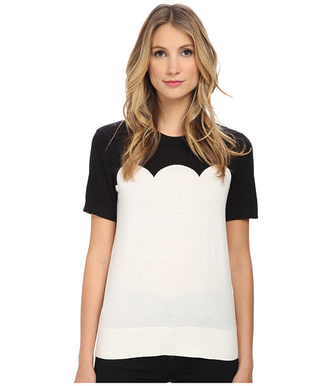 Kate Spade New York - Fitted Scallop Short Sleeve Sweater (Black/Cream) Women's Sweater