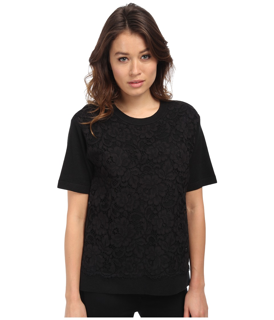 Kate Spade New York - Floral Lace Front Sweater (Black) Women's Sweater