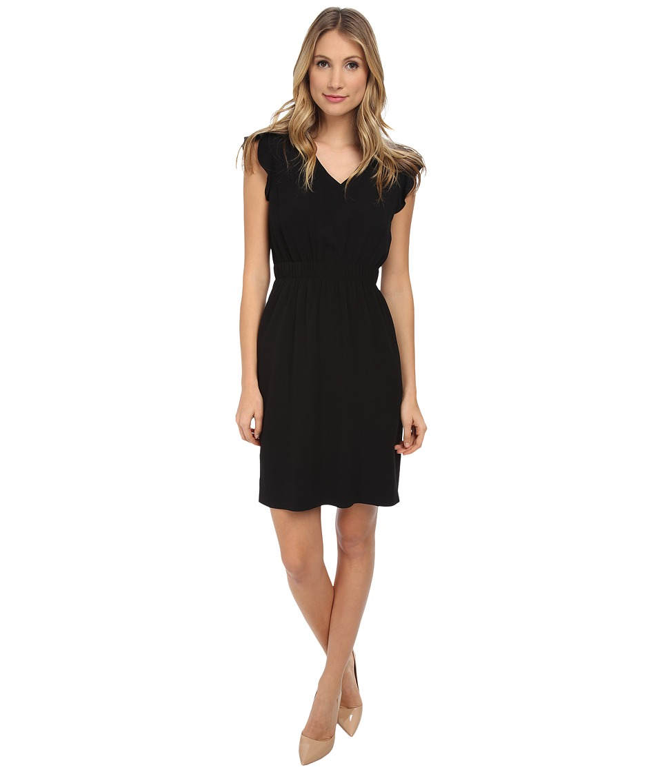 Kate Spade New York - Fluid Crepe Frill Dress (Black) Women's Dress