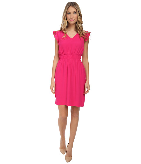 Kate Spade New York - Fluid Crepe Frill Dress (Sweetheart Pink) Women