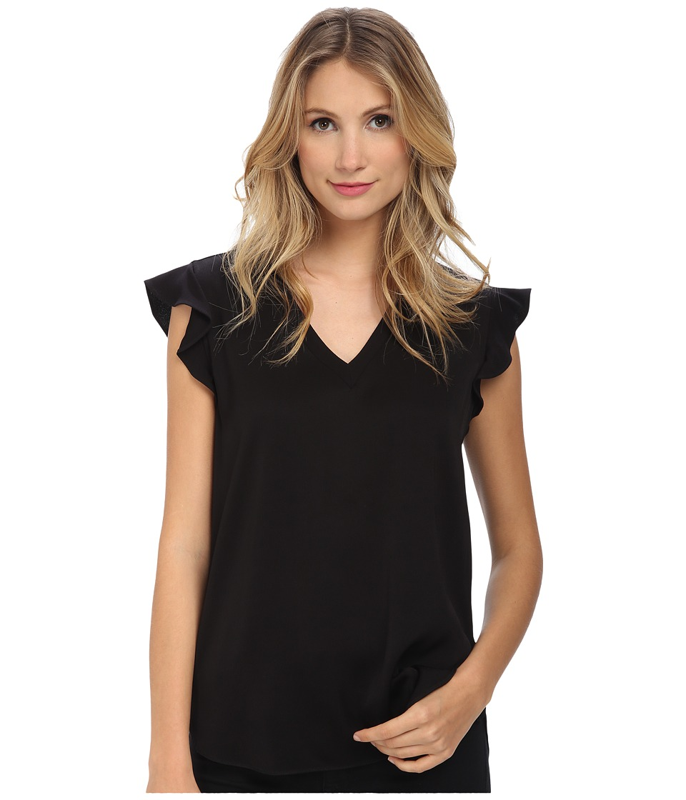Kate Spade New York - Satin Crepe Flutter Sleeve Top (Black) Women