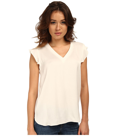 Kate Spade New York - Satin Crepe Flutter Sleeve Top (Cream) Women's Short Sleeve Pullover