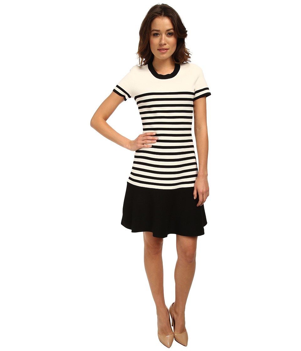 Kate Spade New York - Stripe Scuba Knit Dress (Cream/Black) Women's Dress