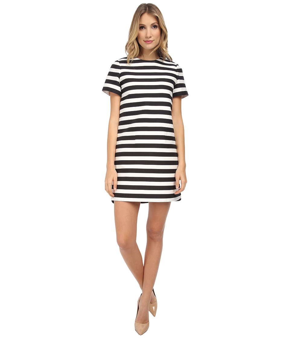 Kate Spade New York - Yarn Dyed Stripe Shift Dress (Black/Cream) Women's Dress