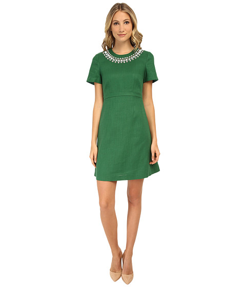 Kate Spade New York - Embellished Linen Bell Sleeve Dress (Lucky Green) Women