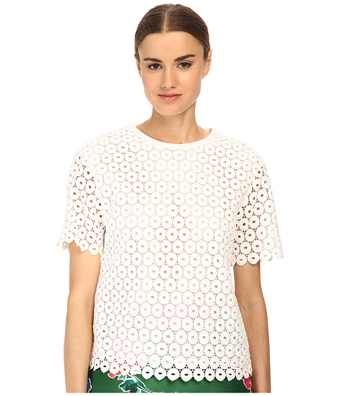 Kate Spade New York - Guipure Lace Scallop Top (Fresh White) Women's Short Sleeve Pullover