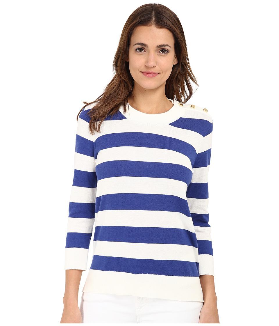Kate Spade New York - Stripe Sweater (Fresh White/Hyacinth) Women