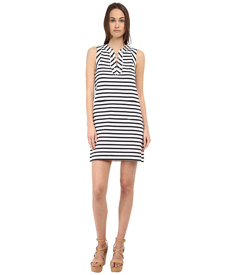 Kate Spade New York - Cotton Jersey Lace-Up Dress (Rich Navy/Fresh White) Women