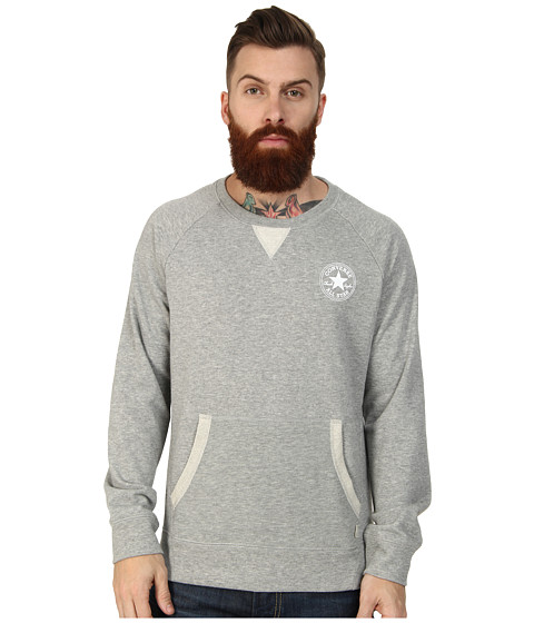 Converse - Core Plus French Terry Raglan Crew Fleece Top (Heather Grey) Men's Long Sleeve Pullover