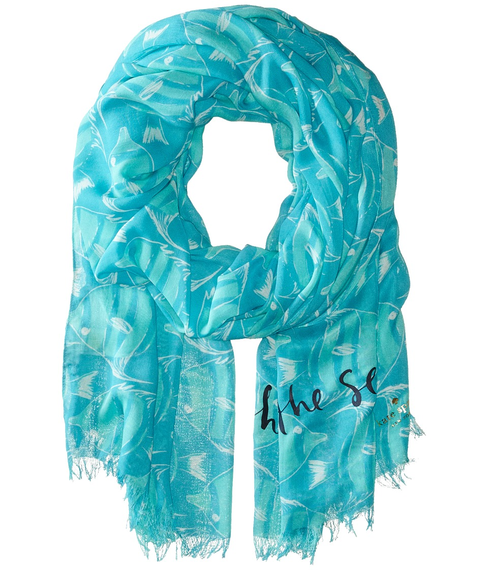 Kate Spade New York - Striped Fish Scarf (Nisbet Blue) Scarves