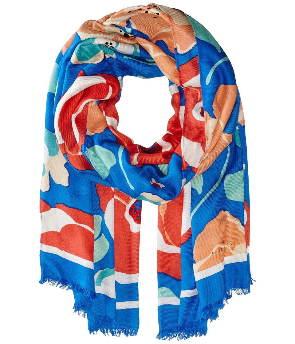 Kate Spade New York - Multi Floral Scarf (Ocean Blue) Scarves