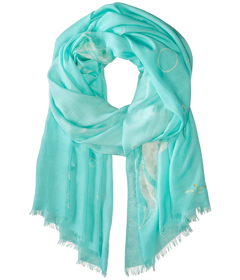 Kate Spade New York - Embellished Fish Bubble Scarf (Blue) Scarves