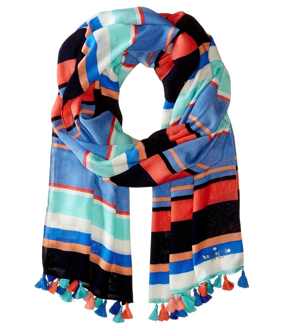 Kate Spade New York - Tropical Stripe Scarf (Caribbean Blue) Scarves