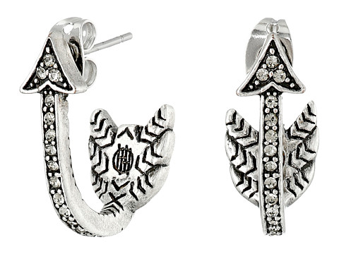House of Harlow 1960 - Arrow Affair Huggies Earrings (Silver) Earring